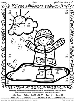 Spring: Splish Splash Solutions ~ Regrouping Math Color By The Code Puzzles