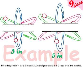 Split Atom Science Designs for Embroidery Nuclear Fission outline 192b