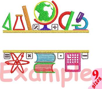 Split Back to School Embroidery Design science school first day math sign 153b