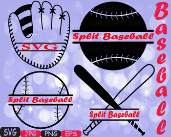 Split Baseball SVG Mascot clipart t-shirt cameo cricut baseball mom dad 432S