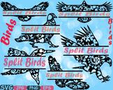 Split Birds Mascot Woodland SVG Eagle Love Labels mascot Clipart 442s