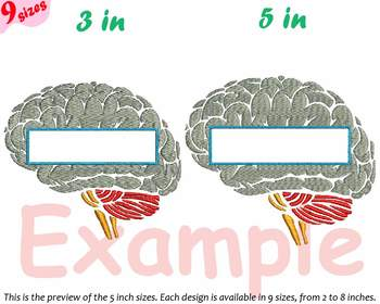 Split Brain Embroidery Design science school anatomy biology Medic frame 232b