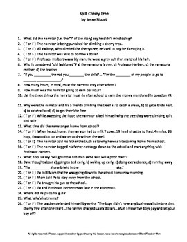 Split Cherry Tree by Jesse Stuart Complete Guided Reading Worksheet