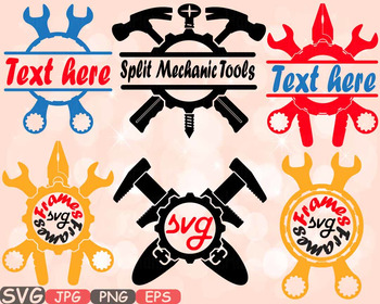 Split & Circle Mechanic Tools clipart frame frames Handyman hammer Science -620s