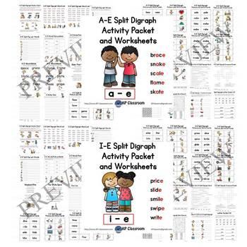 Split Digraphs Activity Packet and Worksheets Bundle