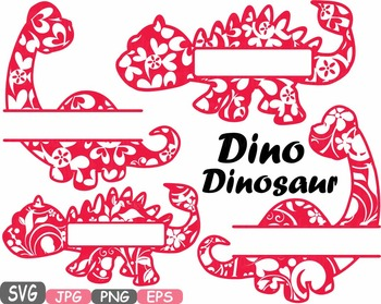 Split Dinosaur Frames Dinos Floral Flower clipart svg school zoo circus 468s