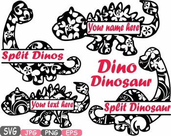 Split Dinosaur Frames Dinos Floral Flower clipart svg scho