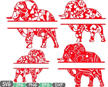 Split Elephant Jungle Animal Safari Flower Wild SVG school Clipart zoo -393s