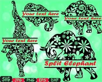 Split Elephant Jungle Animal Safari Flower Wild SVG school Clipart zoo -395s