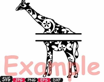 Split Giraffe flower Safari Monogram svg school Clipart zoo jungle baby -392s