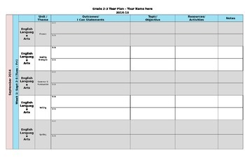 Split Grade Year Planning Template