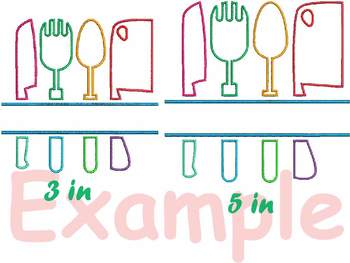 Split Kitchen Embroidery Design Cooking Chef Utensils knife Baking Tools 182b