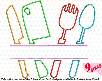 Split Kitchen Embroidery Design Cooking Chef Utensils Knife Baking Tools  183b