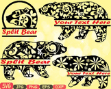 Split Mama Bear zoo Jungle Animal Safari Flower SVG school Clipart woodland 404s