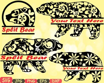 Split Mama Bear zoo Jungle Animal Safari Flower SVG school Clipart woodland 404s