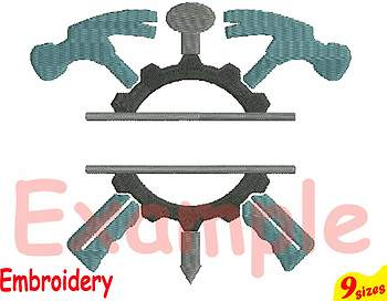 Split Mechanic Tools Hammer Designs for Embroidery 4x4 5x7 hoop Science 106b