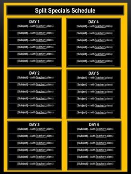 Split Specials Schedule - Bee Theme Colors (Black & Gold)