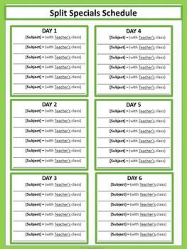 Split Specials Schedule - Lime & White Mini-Polka Dots