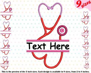 Split Stethoscope Heart Embroidery Design Nursing Nurse frame doctor love 212b