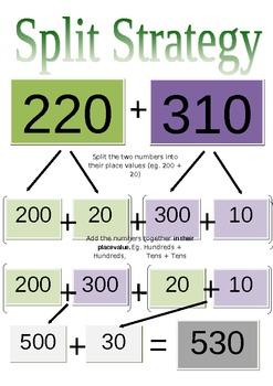 split strategy cards for 2 3 digit addition by kate black tpt. Black Bedroom Furniture Sets. Home Design Ideas