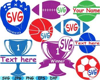 Split circle Sports sport basketball softball soccer svg c