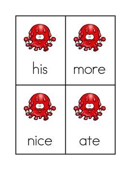 Splotch Sight Word Game #1