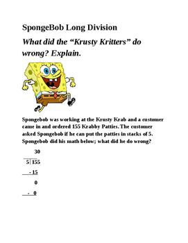 SpongeBob Long Division Error Analysis