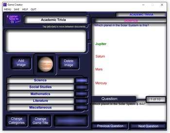 Game Show Wizard Extreme! -- Classroom Gaming Program Application