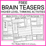 Brain Teasers for Transitions Freebie - Higher Level Thinking for Spare Minutes