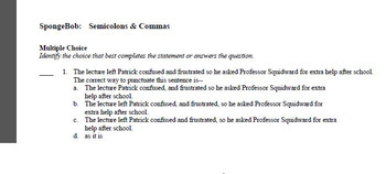 SpongeBob Commas & Semicolons Grammar Exam View Quiz Independent Clauses Check