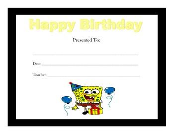 Spongebob Birthday Certificates (Includes 4 Certificates(