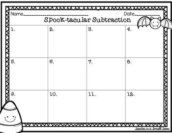Spook-Tacular Subtraction Task Cards 4.NBT.4