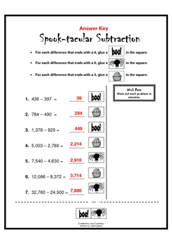 Spook-tacular Subtraction - Halloween math
