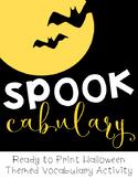 Spookcabulary Halloween Activity Packet