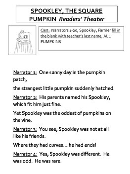 Spookley The Square Pumpkin Readers' Theater Packet