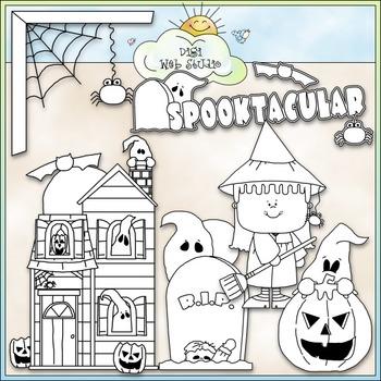 Spooktacular Clip Art - Halloween Clip Art - Trick or Treat - CU Clip Art & B&W