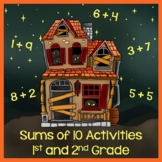Halloween Addition - Find Sums of 10 - 1st and 2nd Grade