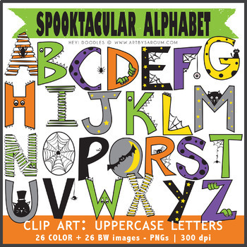 Spooktacular Alphabet (Uppercase + Punctuations)