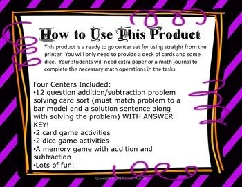 Spooktacular Halloween Addition and Subtraction Centers for 3rd Grade