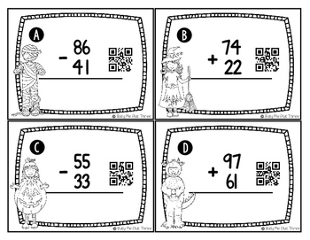 Spooktacular Math Addition and Subtraction Scoot Without Regrouping {QR Codes}