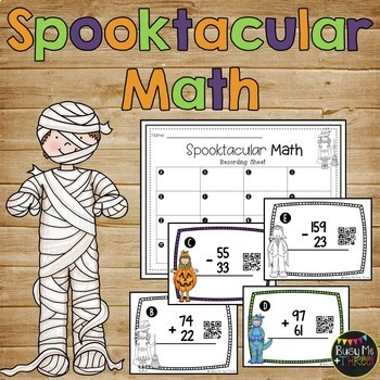 Spooktacular Math Addition and Subtraction Scoot Without R