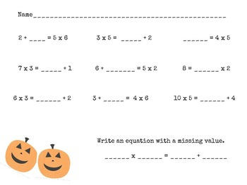 3rd and 4th Grade Common Core Math- Halloween