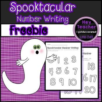 Halloween Math: Spooktacular Number Printing Practice 0-20 FREE