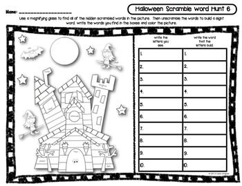 Halloween Sight Word Scramble Word Hunt