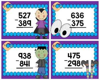 Spooktacular Subtraction with Regrouping Task Cards #1