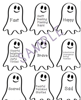 Spooky Adjectives & Verbs Synonym Matching Activity!