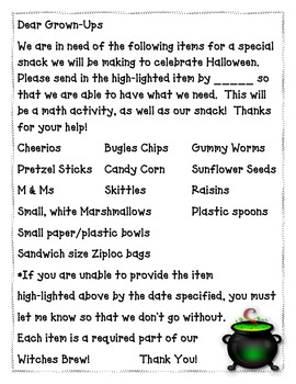 Spooky Brew-A Halloween snack and math lesson for PreK and K
