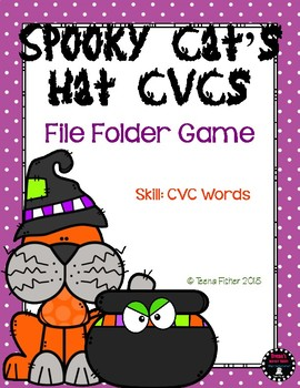 Spooky Cat's Hat CVC Words Short Vowel File Folder Game Kindergarten Phonics