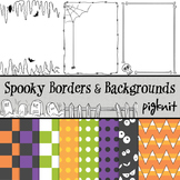 Spooky Clip Art, Halloween Borders and Backgrounds -- Skeleton, Bats, Spiderweb