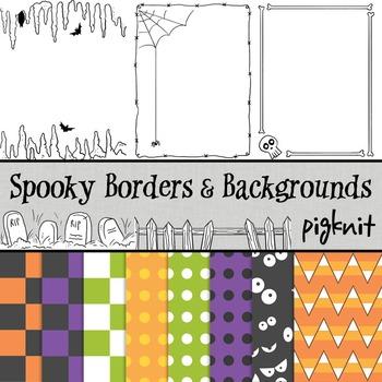 Spooky Clip Art, Halloween Borders and Backgrounds -- Skeleton, Bats, Spiderweb